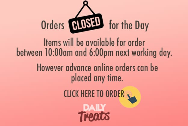 Orders Closed for the day. Items will be available for order between 10am and 5pm, tomorrow. However advance online orders can be placed any time.  Visit https://squareonetreats.com/xmas-cakes